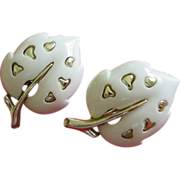 Vintage Sarah Coventry White Lucite Leaf Earrings