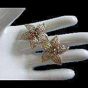 REDUCED Dainty Openwork Enamel Flowers and Rhinestones Earrings ~ REDUCED!