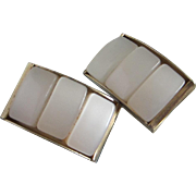 REDUCED Vintage Dove White Moonglow Lucite Earrings ~ REDUCED!