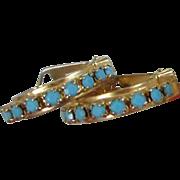 SALE Wraparound Turquoise Milk Glass Earrings