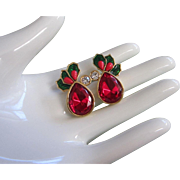 SALE Avon Holiday Holly & Berries Red Rhinestone Earrings, Pierced