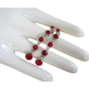 REDUCED Dangling Ruby Red Rhinestone Earrings, Pierced ~ REDUCED!!