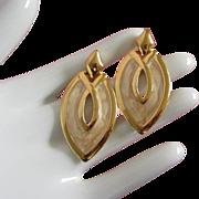 SALE Vintage Napier Creamy Enamel Swirl and Gold Tone Drop Earrings