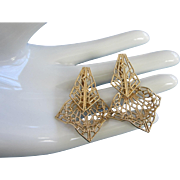 Vintage Gold Tone Filigree Drop Earrings