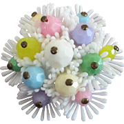 SALE Perfectly Pastel Beaded Springtime Flower Pin