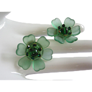 West Germany Green Lucite, Rhinestone Flower Earrings