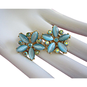 SALE Turquoise Moonglow Glass and AB Rhinestone Flower Earrings