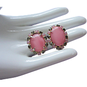 SALE Pink Glass and Black Diamond Rhinestone Earrings