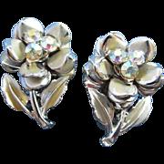SALE Sweet Rhinestone and Silver Tone Flowers Earrings