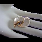 SALE White Satin Enamel, Gold Tone Earrings, Clip On