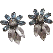 SALE Delicate Krementz Baby Blue Rhinestone Flower Earrings