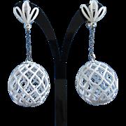 SALE White Enamel Open Weave Dangling Earrings