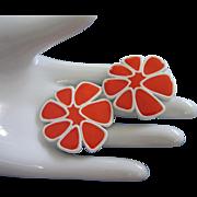 SALE Most Awesome MONET Vivid Orange Enamel Flower Earrings