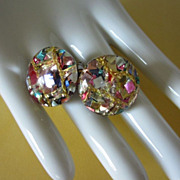 REDUCED Vintage Metallic Confetti Lucite Earrings ~ REDUCED!