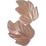 REDUCED Vintage Pale Pink Lucite Leaves Earrings ~ REDUCED!