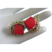 REDUCED Coro Red Moonglow Lucite Clip Style Earrings ~ REDUCED!!