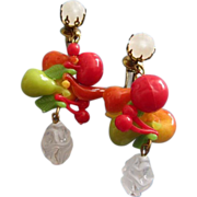 REDUCED West Germany Colorful Fruit Salad Dangly Earrings ~ REDUCED!