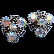 AB Rhinestones, Antiqued Silver Tone Earrings