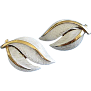REDUCED Trifari White Enamel Leaves Earrings ~ REDUCED!!