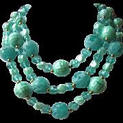 SALE Minty Seafoam Green Three Strand Necklace