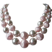 REDUCED Vintage Soft Pink and White Bead Double Strand Necklace ~ REDUCED!!