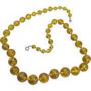 SALE Marigold Plastic Beaded Necklace