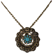 REDUCED Vintage Turquoise Glass & Antiqued Gold Tone Necklace/Pin ~ REDUCED!