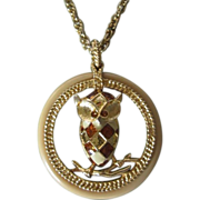 REDUCED Brown and Cream Enamel Argyle Owl Pendant Necklace ~ REDUCED!