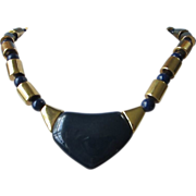 REDUCED Vintage Napier Navy Blue Lucite and Gold Tone Necklace ~ REDUCED!