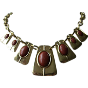 SOLD Vintage Faux Carnelian Cabochons, Gold Tone Necklace