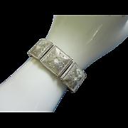 REDUCED Vintage Enamel Whitewash over Gold Tone Bracelet ~ REDUCED!