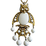 REDUCED Articulated Gold Tone, White Thermoset Owl Pendant Necklace ~ REDUCED!