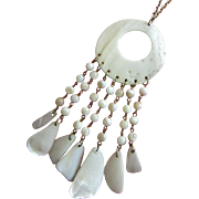 REDUCED Vintage Seashell Pendant Necklace with Dangles ~ REDUCED!!