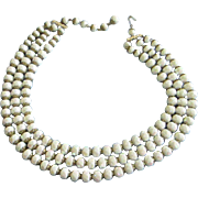 REDUCED West Germany 3 Strand Iridescent Beaded Necklace ~ REDUCED!