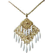 Gold Tone Filigree and White Beaded Pendant Necklace