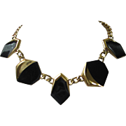 REDUCED Vintage MONET Black Enamel and Gold Tone Necklace ~ REDUCED!!