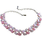 REDUCED Vintage Two Tone Pink Leafy Moonglow Lucite Necklace ~ REDUCED!!