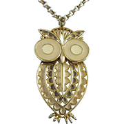 REDUCED Vintage Articulated Owl Necklace with Creamy Beige Enamels ~ REDUCED!!