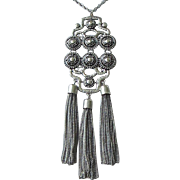 REDUCED Articulated and Tasseled Silver Tone Pendant Necklace ~ REDUCED!!