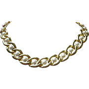 SALE Gold Tone Links with Faux Pearls Necklace