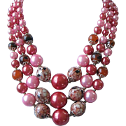 SALE Vintage Japan Multi Strand Rose and Fuchsia Beaded Necklace
