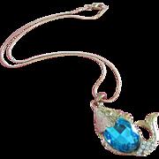 Vintage Turquoise Rhinestone Belly Fish Pendant Necklace