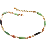 Trifari Faux Jade and Black Lucite Choker Necklace