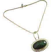 Vintage Whiting and Davis Hunter Green Glass Cabochon Pendant Necklace