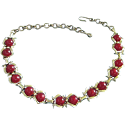 REDUCED Dark Ruby Red Moonglow Lucite Choker Necklace ~ REDUCED!