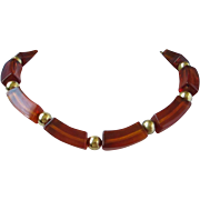 REDUCED Vintage Napier Root Beer Lucite Choker Necklace ~ REDUCED!