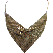 REDUCED Vintage Gold Tone Mesh Bib Necklace ~ REDUCED!