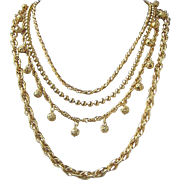 SALE Vintage Napier Multi Strand Gold Tone Necklace