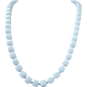 Vintage Milk Glass Cube Shaped Beaded Necklace