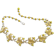 SALE Vintage Coro Sunny Yellow Enamel Leaves and Beads Choker Necklace